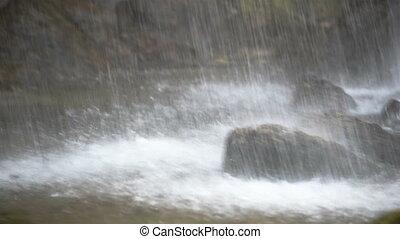 grand, chute eau, rochers