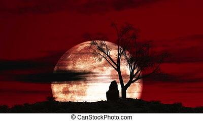 grand ciel, arbre, lune, 4k, rouges