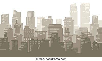 grand, city., dessin animé, illustration