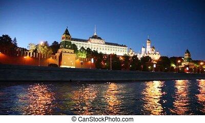 grand, cloche, kremlin, murs, nuit, ivan, tour, brique, rouges