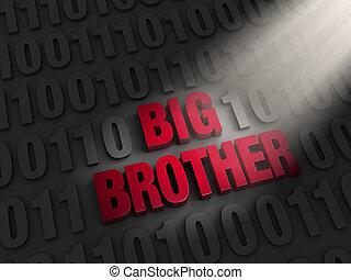 grand, code, informatique, frère