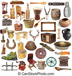 grand, collection, de, isolé, vendange, objets