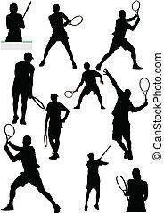 grand, collection, de, joueur tennis, sil