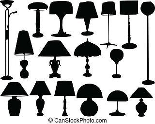grand, collection, de, lampes, -, vecteur