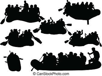 grand, collection, de, rowings