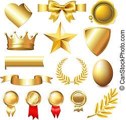 grand, collection, doré