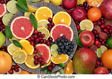grand, collection, fruit, sain