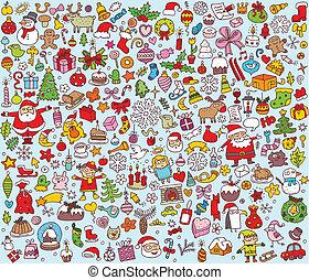 grand, collection, main, petit, illustrations, dessiné, amende, noël