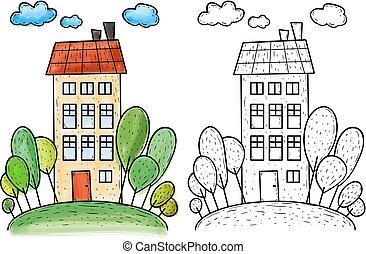 grand, colline, illustration, arbres, maison