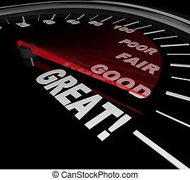 grand, compteur vitesse, revue, mots, évaluation performances