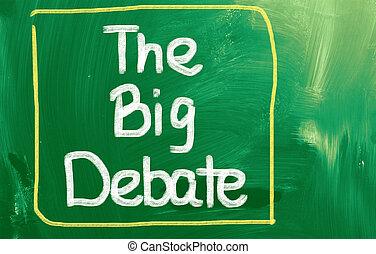 grand, concept, débat