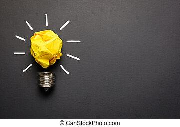 grand, concept, lumière, chiffonné, jaune, idée, papier, ampoule