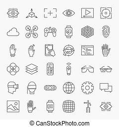 grand, conception, virtuel, ligne, icônes, ensemble, réalité