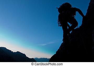 grand, copay, silhouette, grimpeur, espace