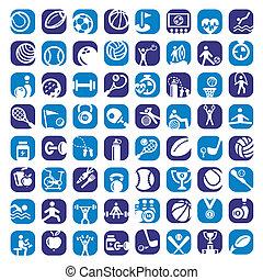 grand, couleur, icônes sports, ensemble