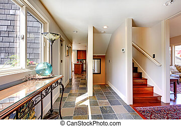 grand, couloir, escalier, fenêtre., maison