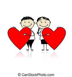 grand, couple, valentin, day., conception, cœurs, ton, rouges