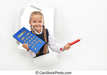 grand, crayon, calculatrice, jeune, étudiant