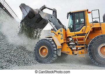 grand, creuser camion, jaune