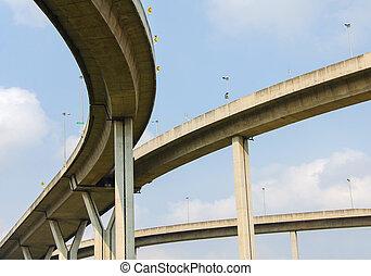 grand, croisement, aérien, autoroute