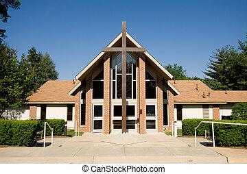 grand, dehors, moderne, croix, église