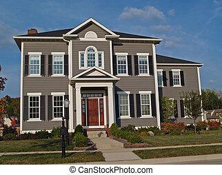grand, deux-histoire, bronzage, maison