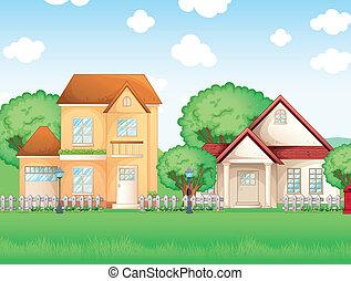 grand, deux, maisons