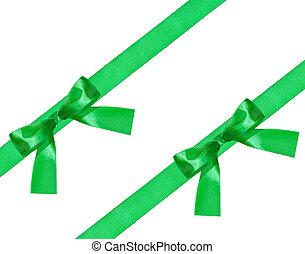 grand, diagonal, arc, vert, deux, noeud, bandes, satin