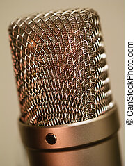 grand, diaphragme, microphone, macro
