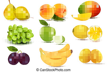 grand, différent, groupe, fruit., vector.