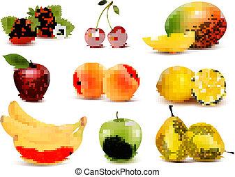 grand, différent, groupe, fruit., vector.