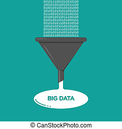 grand, données, analyse, entonnoir filtre, illustration, plat
