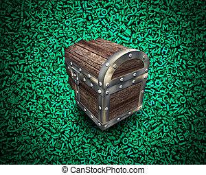 grand, données, bois, poitrine trésor, dans, énorme, vert, caractères, arrière-plan.