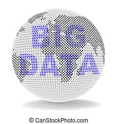 grand, données, globe, mondial, calculer, 3d, illustration