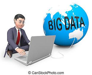 grand, données, globe, mondial, calculer, 3d, rendre