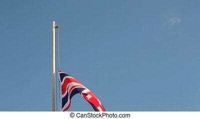 grand, drapeau, grande-bretagne, lever