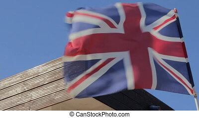 grand, drapeau, grande-bretagne, vent