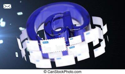 grand, emails., concept, nombre, letters.