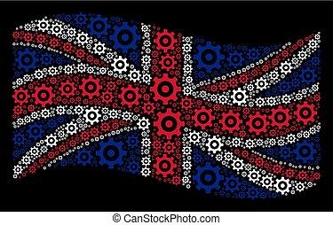 grand, engrenage, icônes, collage, onduler drapeau, grande-bretagne