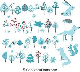 grand, ensemble, à, arbres hiver, et, forêt, animaux