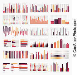 grand, ensemble, éléments, infographics