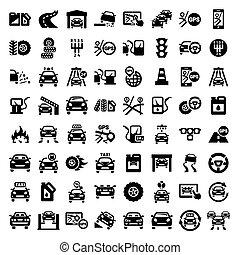 grand, ensemble, auto, icônes