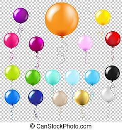 grand, ensemble, ballons, transparent, fond