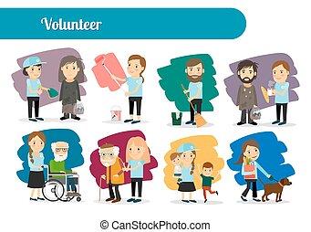 grand, ensemble, caractères, volontaire
