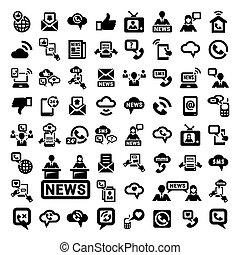 grand, ensemble, communication, icônes