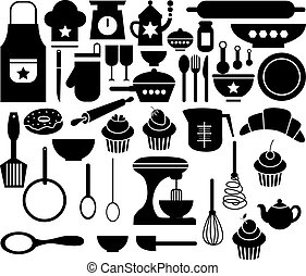 grand, ensemble, cuisine, icône, vecteur