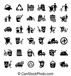 grand, ensemble, déchets, icônes