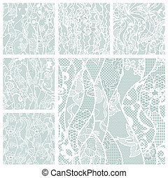 grand, ensemble, de, dentelle, vecteur, tissu, seamless, patterns.