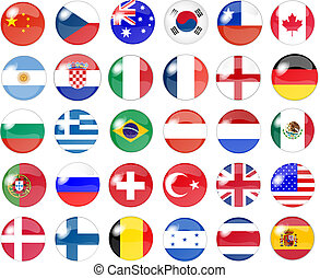 grand, ensemble, de, drapeau national, boutons