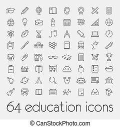 grand, ensemble, de, education, icônes